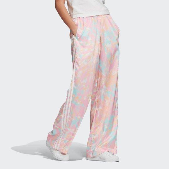 NWT Adidas satin tie dye activewear wide leg pants